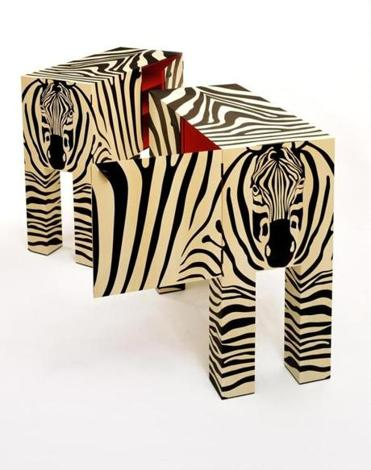 "John Makepeace's ""Zebra Cabinets,"" made of black oak and holly marquetry at Gallery NAGA."